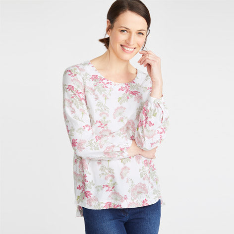 Stepped Hem Pink Hemlock Top