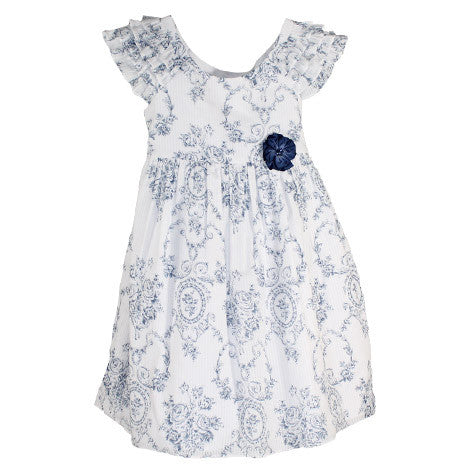 Ruffle Sleeve Printed Floral Toddler Dress