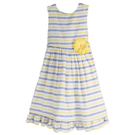 Pleated Hem Striped Toddler Dress