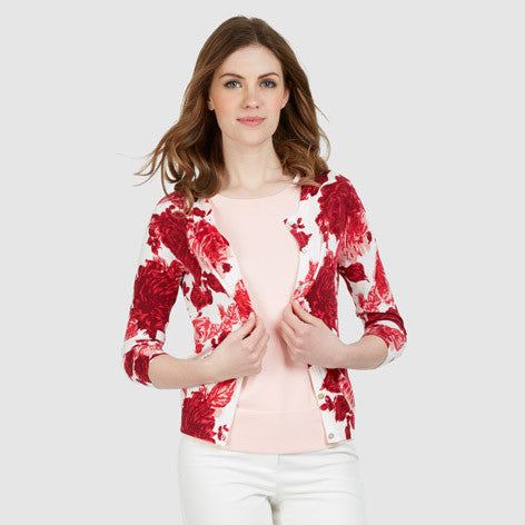 Rose Print Cotton Cardigan
