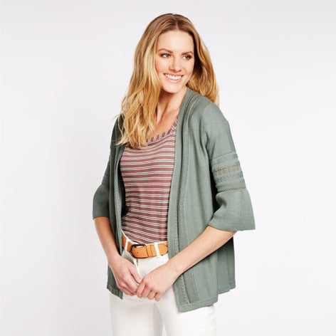 Fluted Sleeve Stitch Detail Cardigan