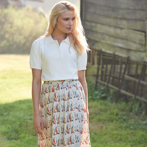 Sailboat Wrap Front Linen Skirt