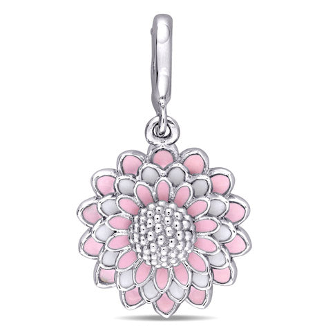 Four-Layered Flower Charm with Pink and White Enamel