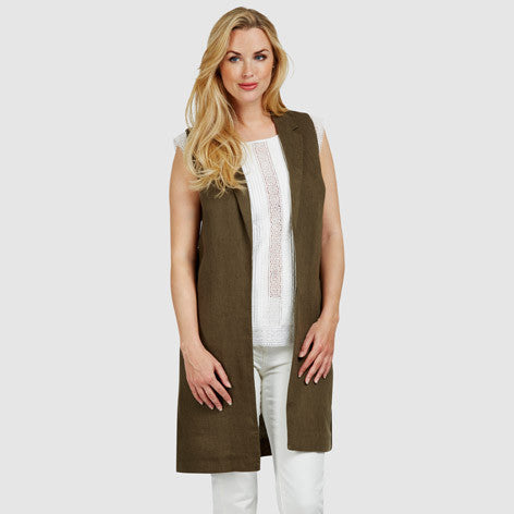 Longline Linen Sleeveless Blazer Top