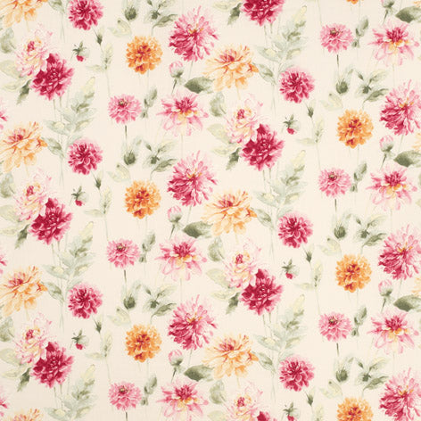 Dahlia Parade Pink Grapefruit Fabric