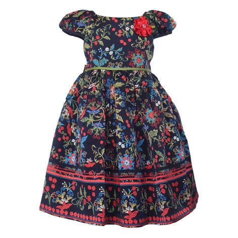 Peasant Sleeve Toddler Dress with Contrast Flower
