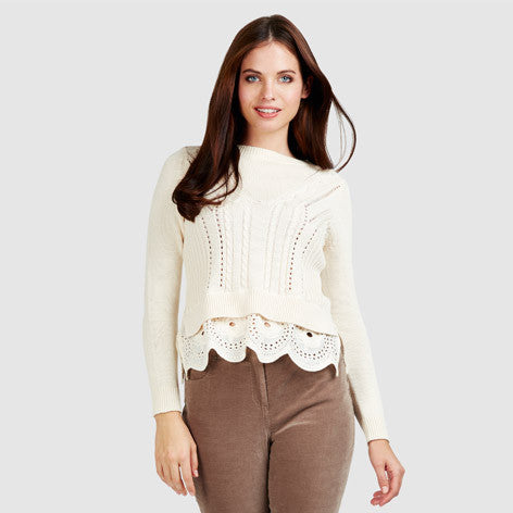 Cable Knit Broderie Sweater