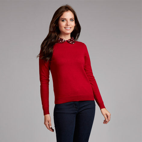 Sequin Embellished Collar Sweater