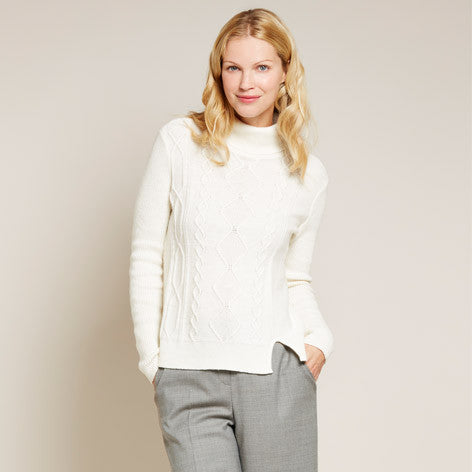 Cable Knit Roll Neck Sweater