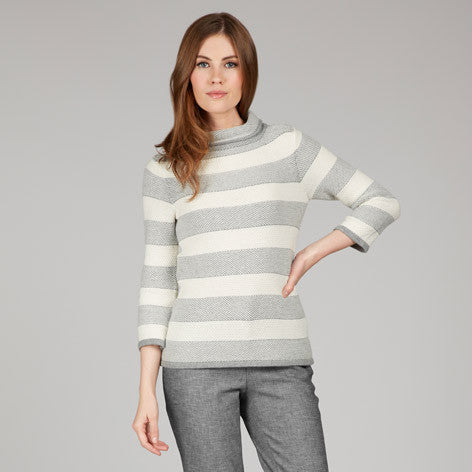 Stripe Funnel Neck Sweater