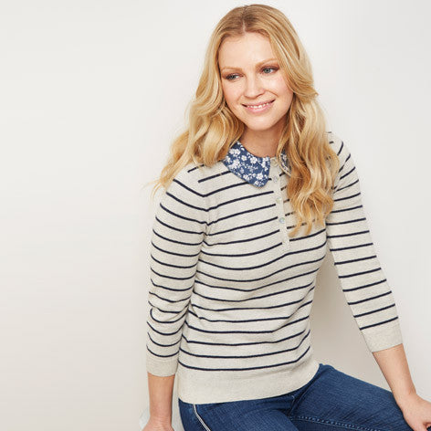 Stripe Sweater with Detachable Collar