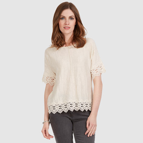 Drop Shoulder Lace Top