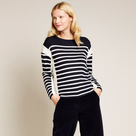 Cable Knit Stripe Sweater