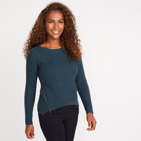 Teal Honeycomb Front Sweater
