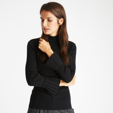 Funnel Neck Sweater with Pleated Cuffs