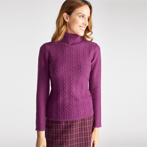 Pink Roll Neck Pointelle Stitch Sweater