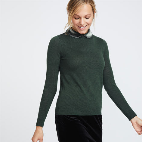 Green Velvet Collar Sweater