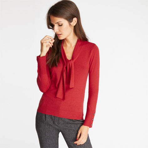 Red Tie Neck Sweater