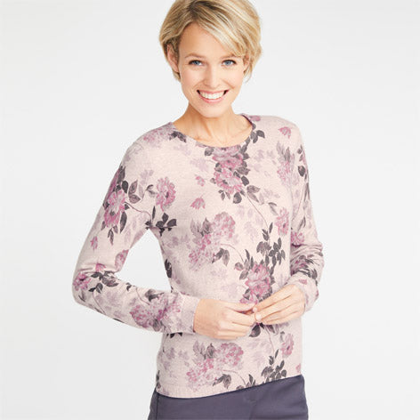 Floral Printed Crew Neck Sweater