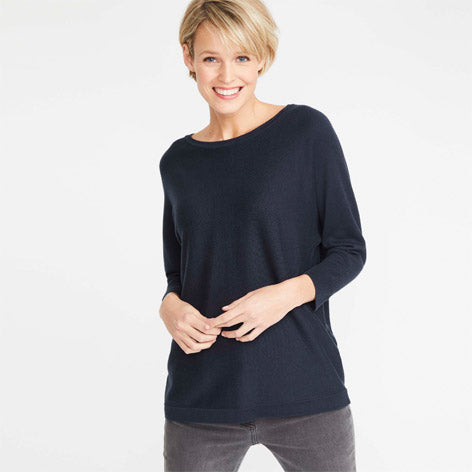 Navy Batwing Sweater with Back Button Detail