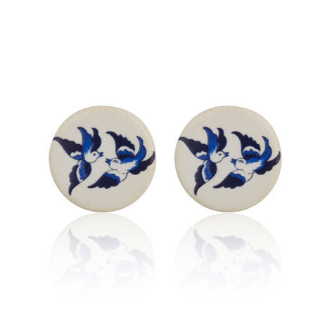 Bird Print Stud Earrings