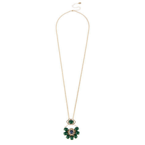 Diamante Flower Pendant Necklace
