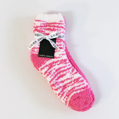 Pink and White Zebra Slipper Socks