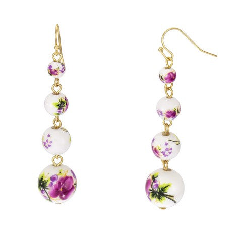 Floral Bead Linear Link Earrings