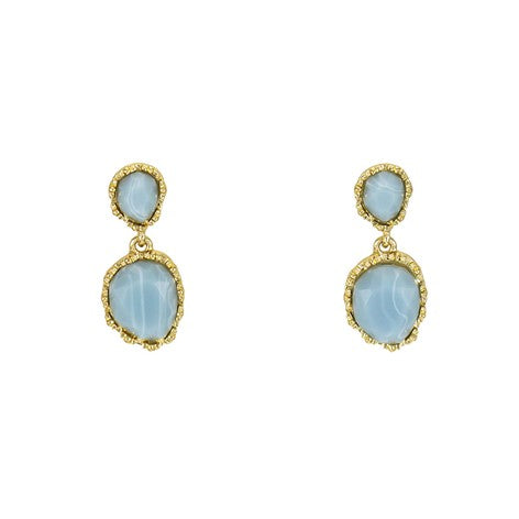 Blue Double Stone Earrings