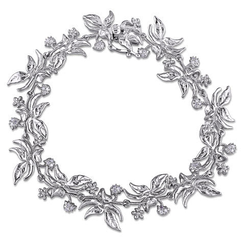 Diamond Floral Spray Silver Bracelet