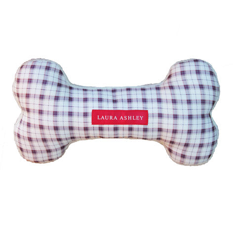 Large Plaid Plush Dog Bone Toy