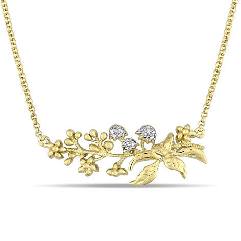 Yellow Silver Spray Floral Necklace