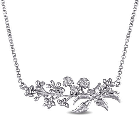 Silver Floral Spray Necklace