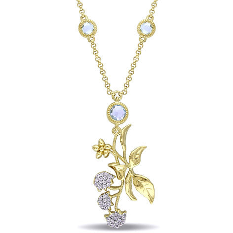 White Sapphire and Topaz Yellow Silver Floral Necklace
