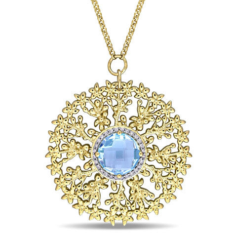 Topaz and Diamond Yellow Silver Medallion Necklace