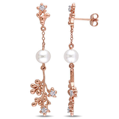 Pearl Rose Silver and Sapphire Dangle Earrings