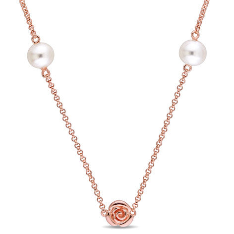 Pearl Rose Silver Necklace
