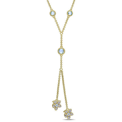 Topaz and Diamond Yellow Silver Flower Necklace