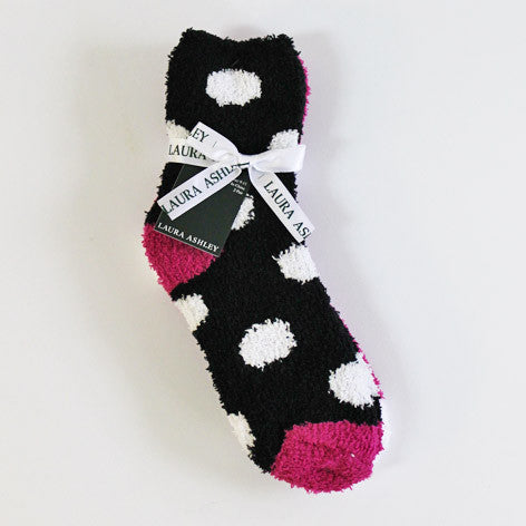 Black and Fuschia Slipper Socks