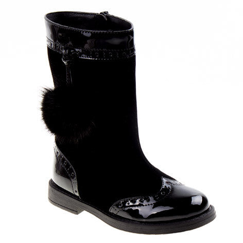Lauren Black Velvet Pom Pom Girls Boots