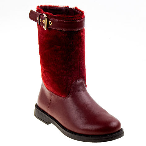 Chloe Burgundy Buckle Girls Boots
