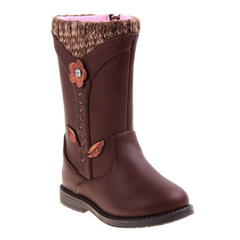 Eva Flower Girls Brown Boots