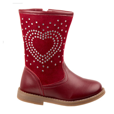 Paige Heart Studded Burgundy Boot