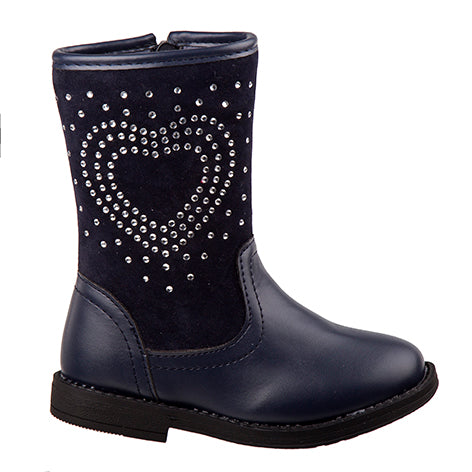 Paige Heart Studded Navy Boot