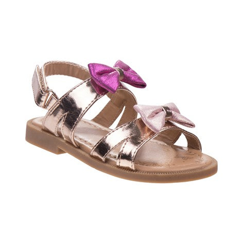 Girls Metallic Bow Sandal Open Toe with Ankle Strap