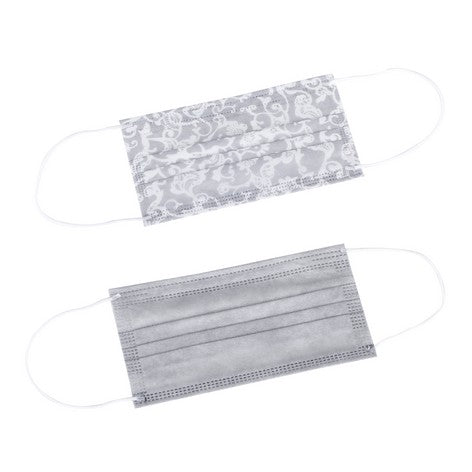 10pc Disposable Face Masks - Lace Print/Solid Grey