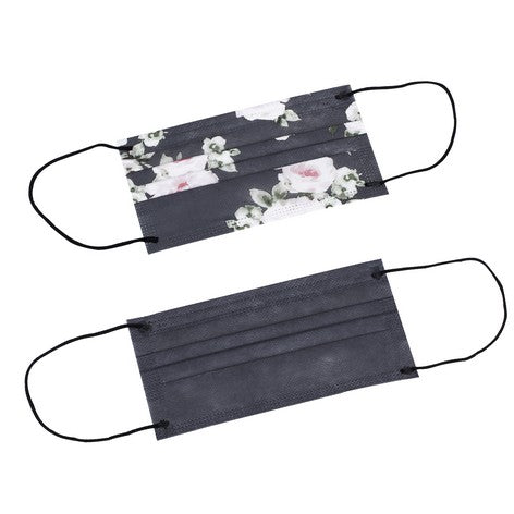 5pc Disposable Face Masks - Orient Floral/Charcoal