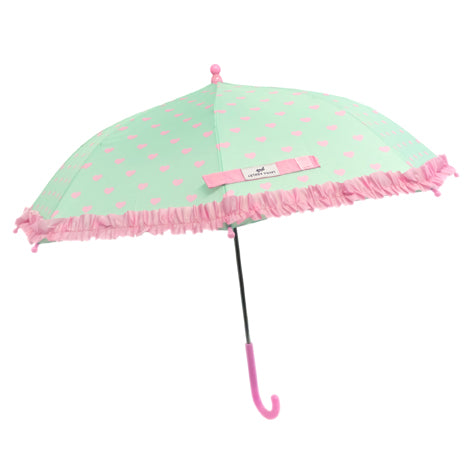 Girl's Mint/Pink Heart Ruffle Umbrella