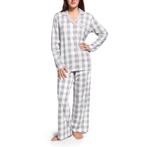 Dove Grey Plaid PJ Set