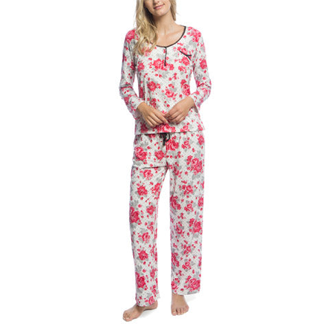 Floral Henley PJ Set With Lace Trim